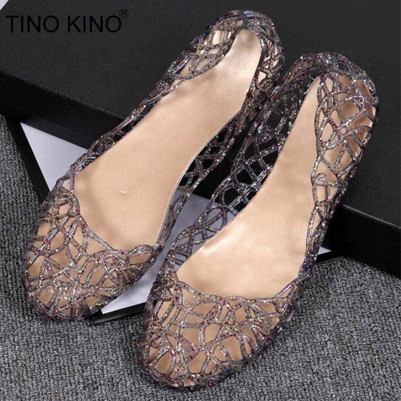 70dfa591480d Women s Bling Sandals Hollow Out Summer Flats Jelly Shoes New Casual Female  Mesh Fashion Slip On