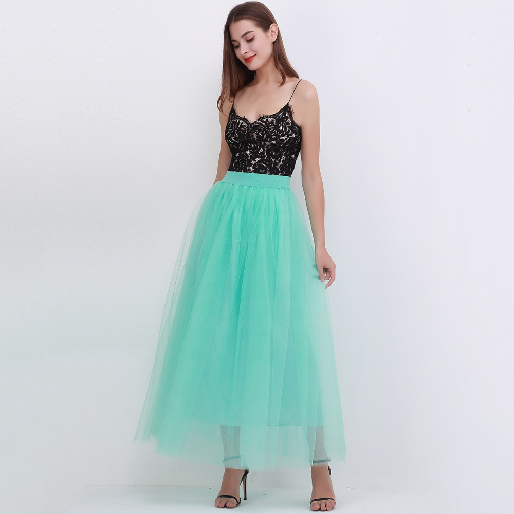 4 Layers 100cm Floor length Skirts for Women Elegant High Waist Pleated Tulle Skirt Bridesmaid Ball Gown Bridesmaid Clothing 21