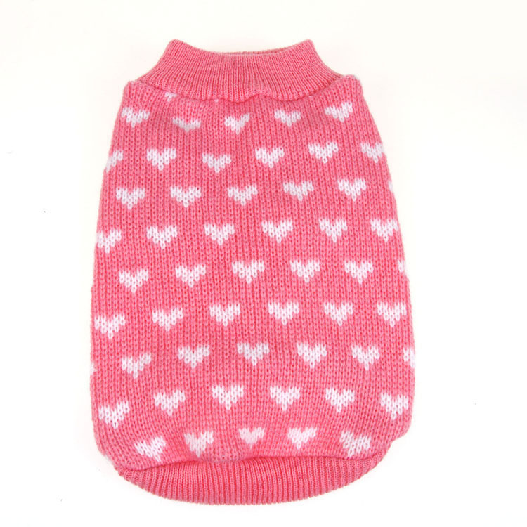 Cute heart warm Pet dog cat crochet knit Sweater sweatershirt Pullover clothing small dog dachshund Chihuahua Coat jacket Cothes