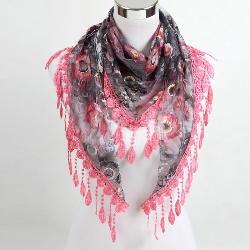 Women Fashion Triangle Scarf Lace Floral Summer Beach Tassel Scarves Chiffon Silk Wrap Pashmina Stole Foulard Hijab SJJ02