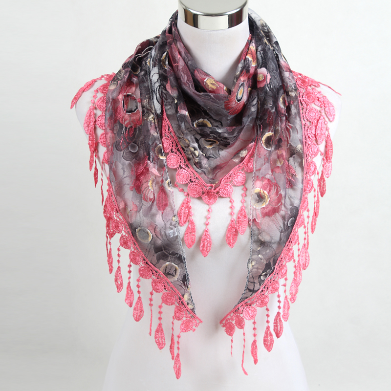 Women Fashion Triangle Scarf Lace Floral Summer Beach Tassel Scarves Chiffon Silk Wrap Pashmina Stole Foulard Hijab SJJ02