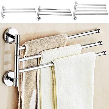 Bathroom Towel Rack Anti-rust Stainless Steel Rotating Bath Rail Hanger Towel Holder 2/3/4 Swivel Bar Wall Mounted Towel Hanging