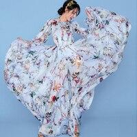 2018 Fashion show Women's Boho style long dress women beach summer dresses Floral Cupid prints Vintage maxi silk dress
