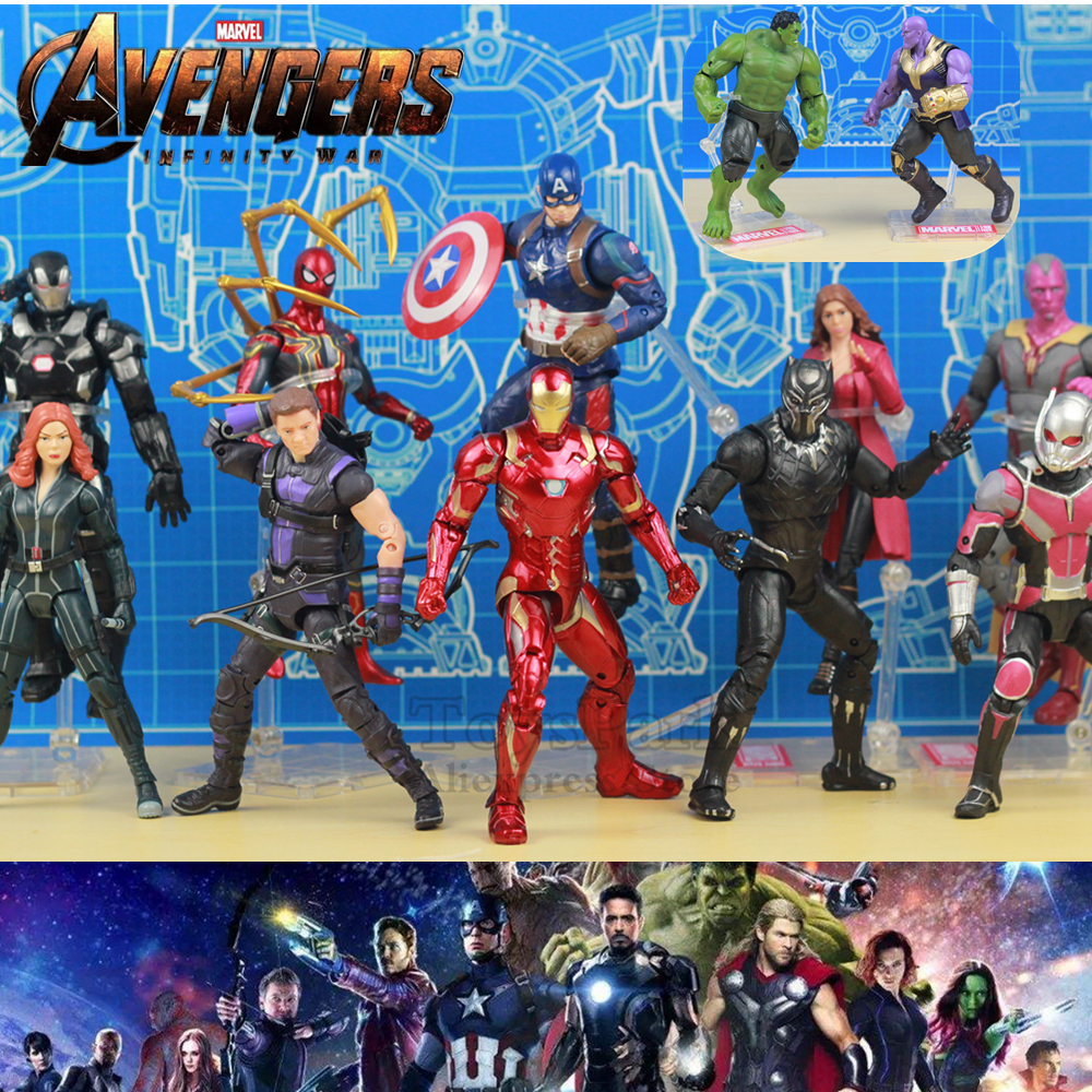 Marvel Avengers 3 Infinity War 6 Iron Spider Man Thanos Captain America Black Widow Panther Vision Hulk Action Figure Toys Doll