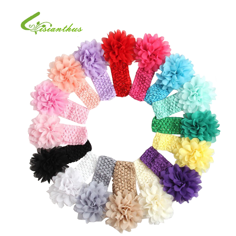 2018 New Free Shipping Girls Lace Headband Baby Chiffon Flower Headband Infant Hair Weave band Baby Hair Accessories baby's Gift 15pcs lot stretch elastic tutu headbands diy headband hair accessories 1 5 inch crochet headband free shipping 33colors in stock