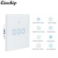 QIACHIP AC 90 250V Smart Home EU Plug White Wall Waterproof Switch Touch Switch 3 Gang