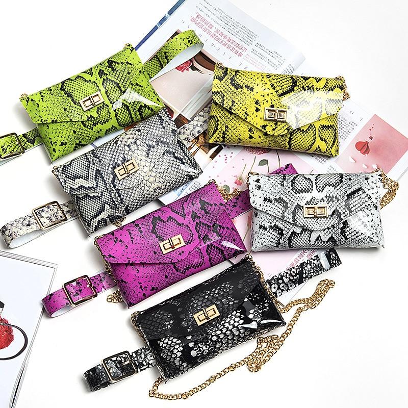 HATCYGGO 2019 Luxury Belt Bag PVC Fanny Pack For Women Waist Bag Serpentine Punk Women Fanny Packs Black Waist Packs Chain