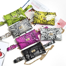 HATCYGGO 2019 Luxury Belt Bag PVC Fanny Pack For Women Waist Serpentine Punk Packs Black Chain
