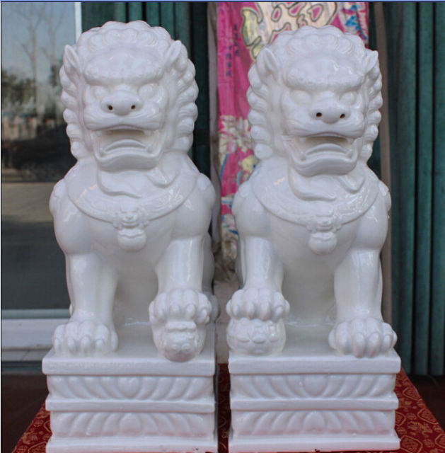 33 Cm A Pair Of Exquisite Chinese White Porcelain