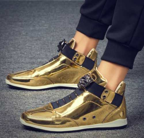 Mens Gold Patent Leather High Top Sports Casual Sneakers Pointed Toe Shoes New Black Sliver Gold