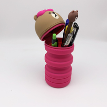 купить Creative 3D Cartoon Silicone Pen Bag Student Pencil Bag Primary and Secondary School Stationery Pencil Case дешево