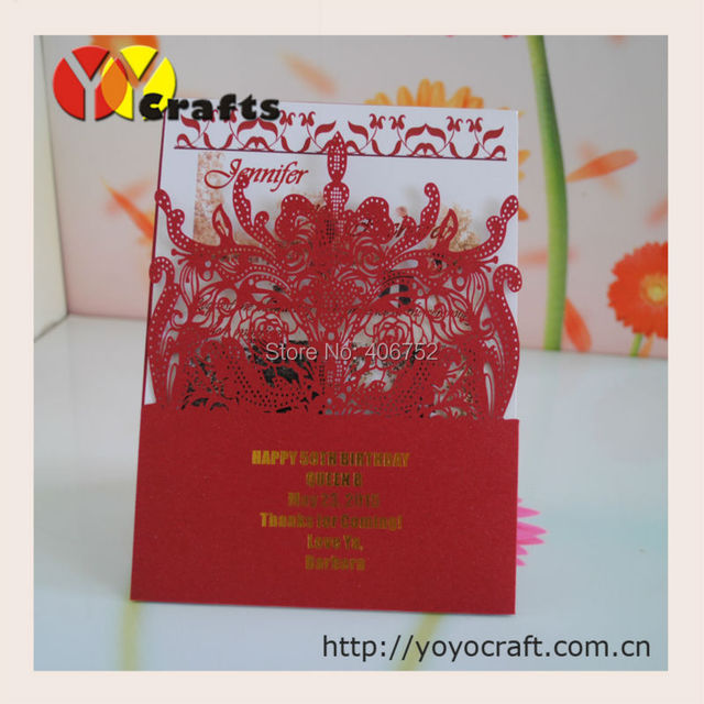 Invitation Cards Wedding Party Decorations Pocket Laser Cut Modern Red Chinese Invitations Gold Stamping Service