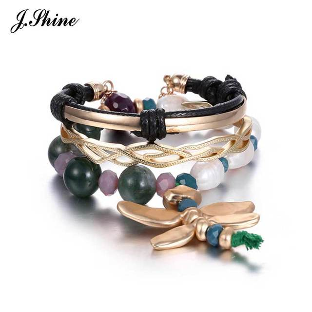 JShine Fashionable Brand Design Multi Layers Dragonfly Imitation Pearl & Stone Handmade Charm Bracelets Bangles for Women