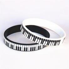 1 pc venda quente preto branco impresso piano keycboard silicone pulseira música nota pulseira & pulseiras para amantes de música fãs presente sh081