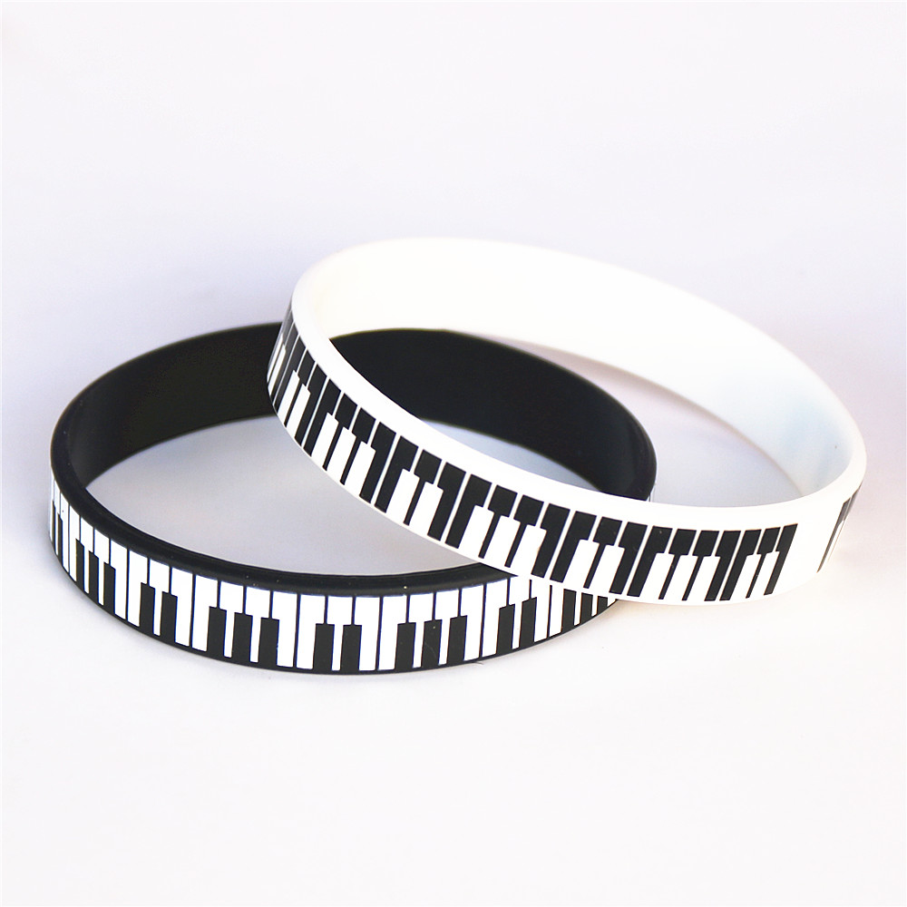 1PC Hot Sale Black White Printed Piano Keycboard Silicone Wristband Music Note Bracelet &Bangles for Music Lover Fans Gift SH081 image