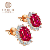 natural Red red green Stone gold stud Earrings for Women Fine Jewelry Earrings Luxry Fashion Pericing Ear Bijoux Red corundum