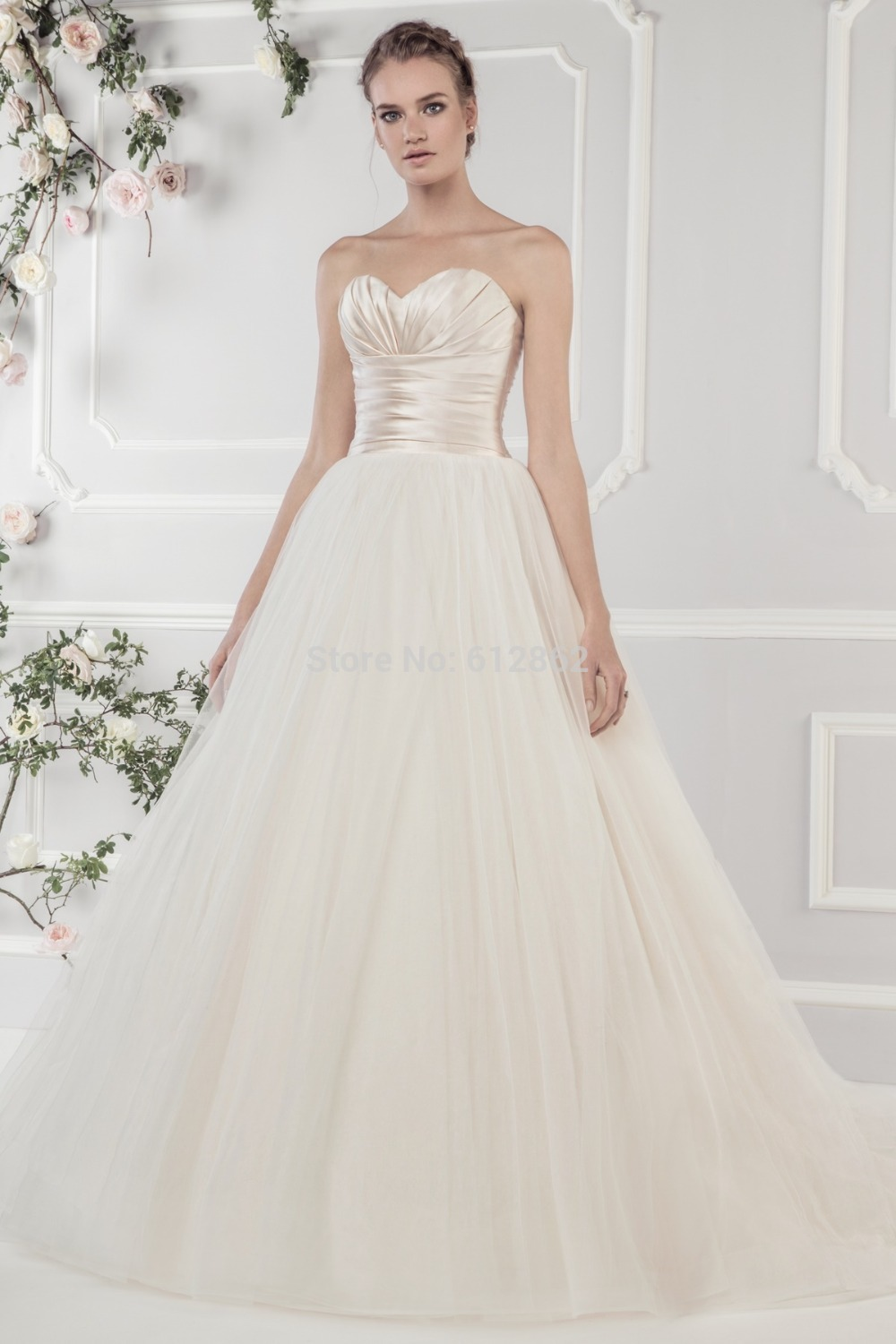 Strapless Sweetheart Ball Gown Champagne Satin Top Ivory Tulle Skirt ...