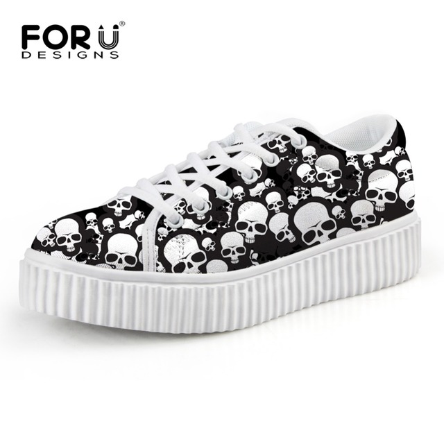 Brand Women Flats Platform Shoes Skull Punk Print Women Vintage Creeper Shoes Thick Bottom Female Loafers Shoes Chaussure Femme