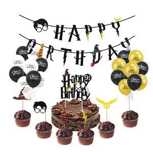 Cartoon Birthday Banner Happy Birthday Latex Balloons Cake Topper Baby Shower Birthday Party Decor Hanging Bunting Kids Favors(China)