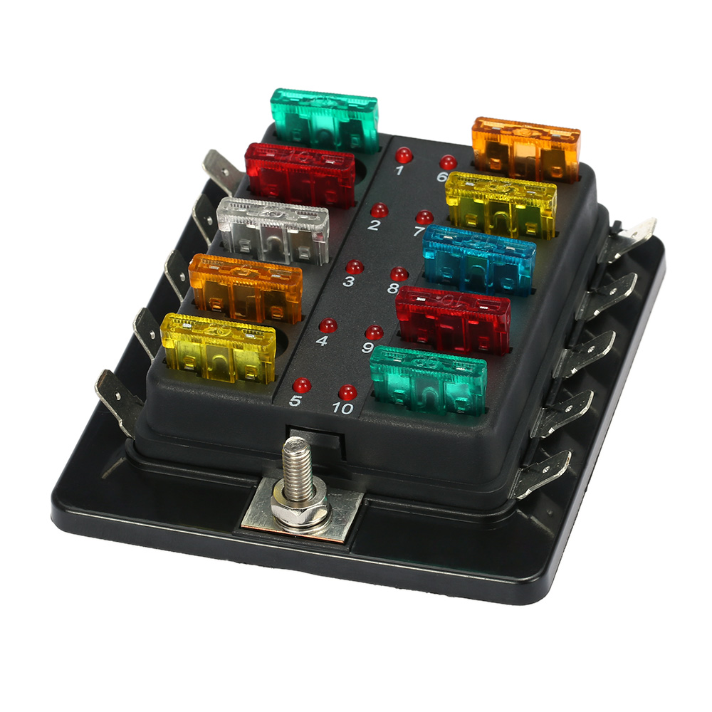 Car Fuse Box 10 Way Blade Fuse Box Holder With Led Warning