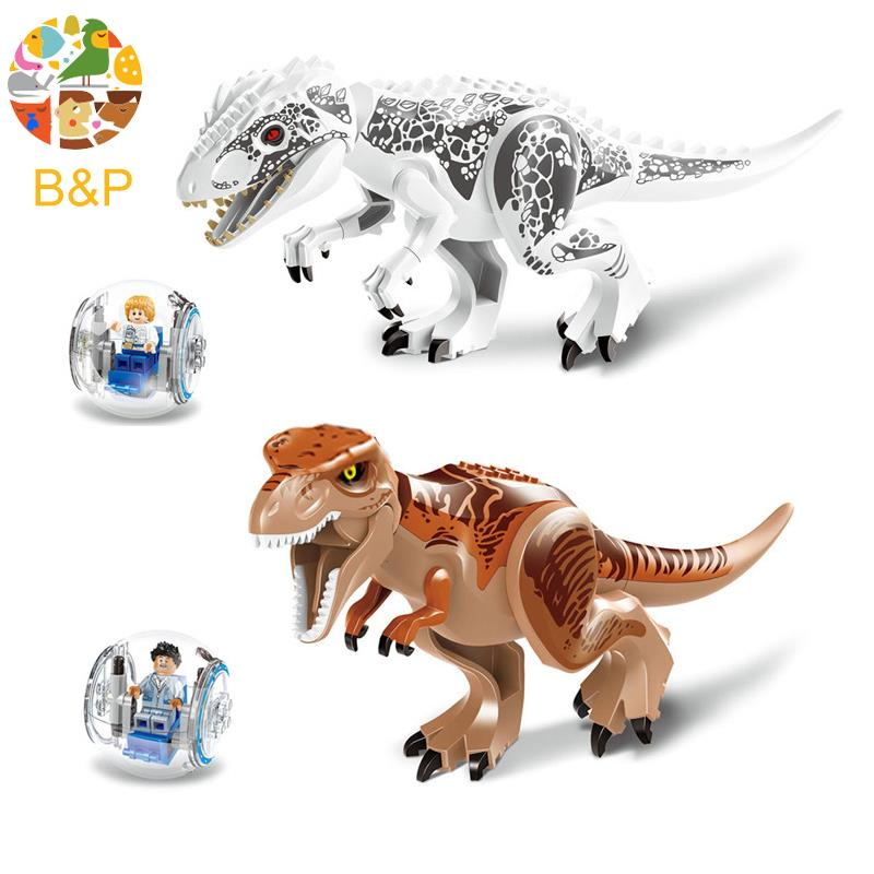 2Pcs/lot 79151 Legoing Jurassic Dinosaur world Figures Tyrannosaurs Rex Model Building Block Brick Toys For Children Gift fopcc 2pcs sets 79151 jurassic dinosaur world figures tyrannosaurs rex building blocks compatible with dinosaur toys legoings