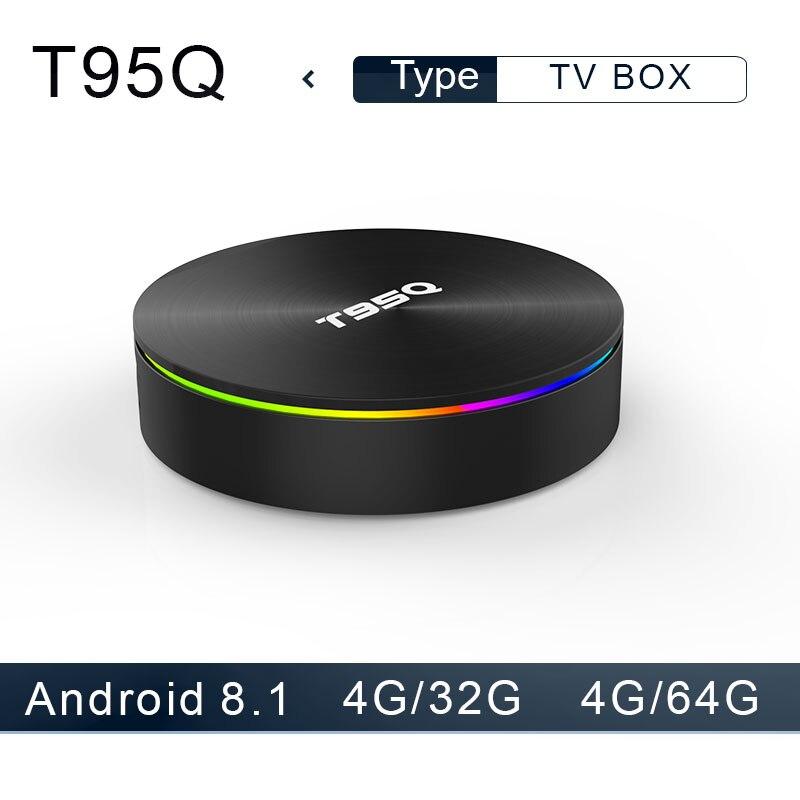 Boîtier TV T95Q Android 8.1 4G32 4G64G LPDDR4 Amlogic S905X2 Quad Core 2.4G & 5 GHz double Wifi BT4.1 1000 M H.265 4 K lecteur multimédia boîtier tv