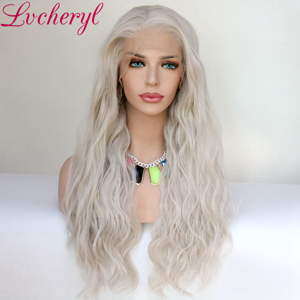 Lvcheryl Synthetic Lace Front Wig Natural Wave Platinum Grey 13x6 Synthetic Lace Front Wig Futura Hair Lace Wigs For Women