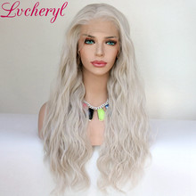 Lvcheryl Synthetic Lace Front Wig Natural Wave Platinum Grey 13x6 Synthetic Lace Front Wig Futura Hair Lace Wigs For Women(China)