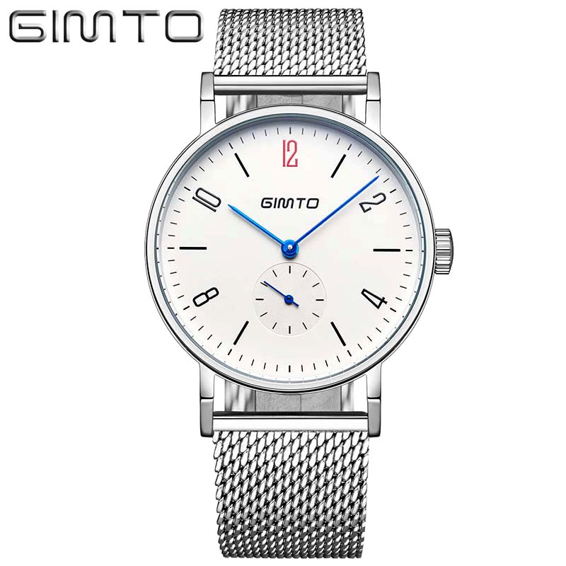 GIMTO New Top Luxury Watch Men Fashion casual watches Brand Men's Watches Ultra Thin Stainless Steel Mesh Band Quartz Wristwatch bestdon new top luxury watch men brand men s watches ultra thin stainless steel mesh band quartz wristwatch fashion casual clock