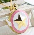 Hot venda Nova Sailor Moon Asas estrelas bonito lindo Relógio de Bolso Colar de pingente de jóias para presentes de Natal menina N0403