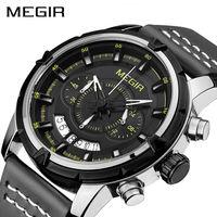 MEGIR Sport Men Quartz Watch Multifunction Chronograph Fashion Wrist Watches Clock Men Relogio Masculino With Leather