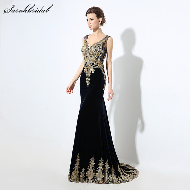 Gold Embroidery Emerald Green Mermaid Evening Dresses Real Photos Sexy Illusion Crystal Mermaid Long Formal Gown LSX027