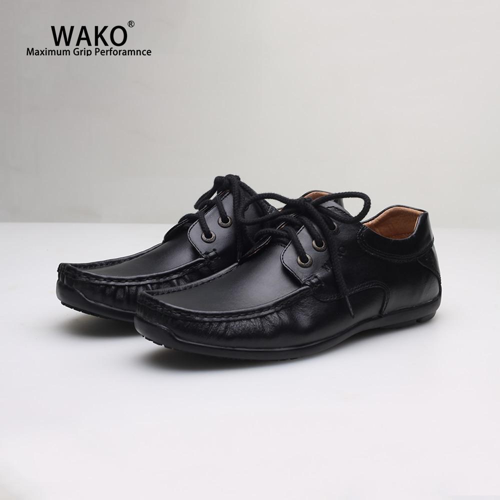 Wako Men Women Chef Shoes Black Leather Shoes Non Slip