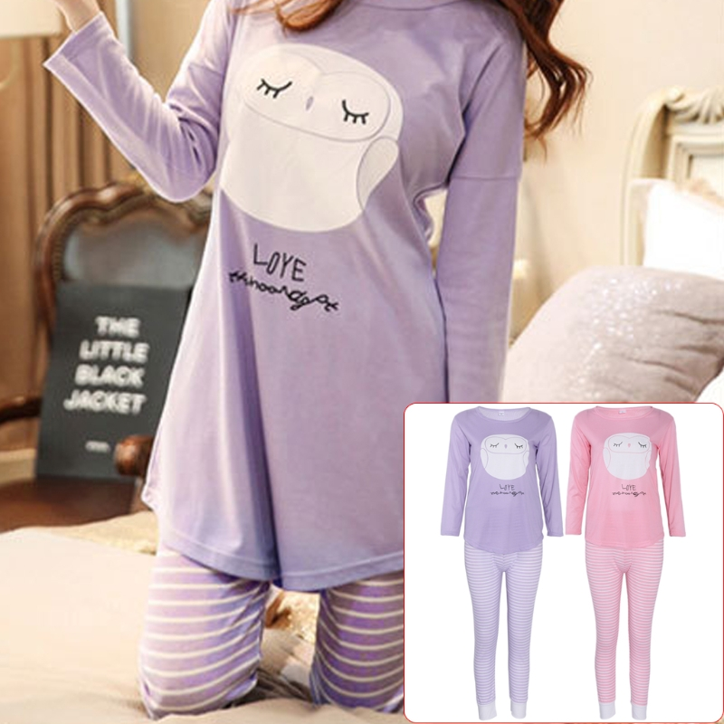 KLV Women Long Sleeve Cartoon Owl Print Tops And Stripe Pants Pajamas Set Sleepwear high quality Home clothes