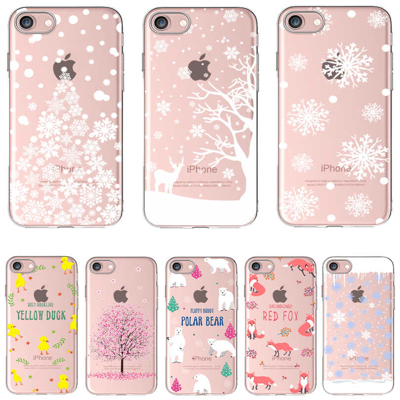 Soft Silicon Cover Case Voor Apple iPhone 8 7 7Plus 6 6S 5S SE Cases i Telefoon X XS Max XR 11Pro Shell Kerstboom Sneeuwvlok