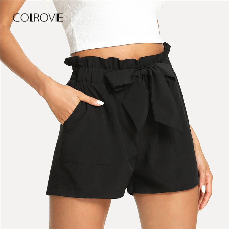 COLROVIE Self Belted Ruffle Casual Shorts 2018 New Black Knot Basic Summer Shorts Mid Waist Women Shorts Frill Streetwear Shorts
