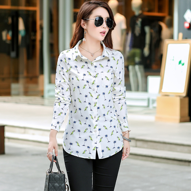 Women Long Style Shirts 2019 Spring Autumn New Plus Size Blouses Print Long Sleeve Chiffon Shirt Women Blouse Casual Tops Blusas Women Shirts