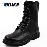 INLIKE Men Big Size Motorcycle Boots Genuine Leather Cool Rivet Combat Army Men Boots Punk Goth Biker Men Leather Shoes