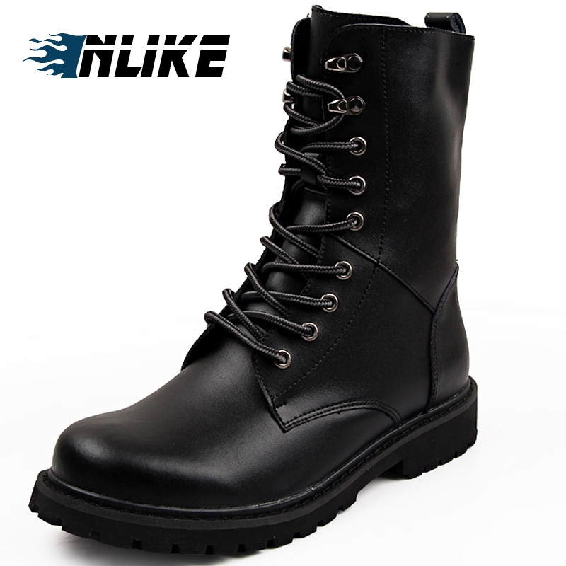 INLIKE hommes grande taille moto bottes en cuir véritable Cool Rivet armée de Combat hommes bottes Punk Goth Biker hommes chaussures en cuir
