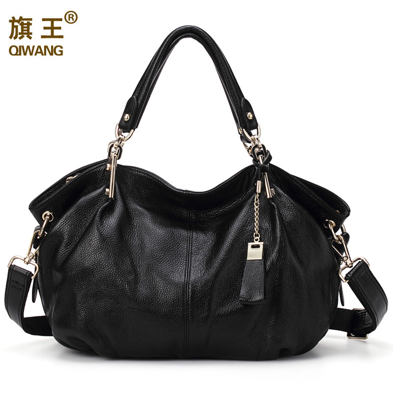 Women Hobo Hand Bags Qiwang Genuine Real Leather Shoulder Bag Luxury Brand Office Handbag for Women Fashion Bag Large Capacity-in Top-Handle Bags from Luggage & Bags    1
