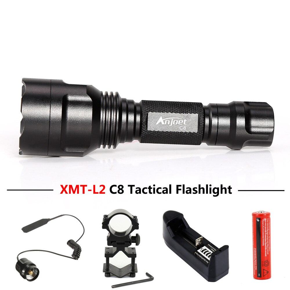 ANJOET C8 Tự vệ đèn pin 5 chế độ XML T6 Q5 L2 LED 1198LM Nhôm đơn Chiến  Thuật Đèn Pin Đèn dùng cho Cắm Trại, Đi Xe Đạp LED Flashlights