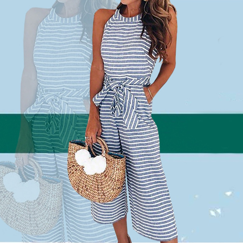 Ladies Summer Jumpsuit Women Sleeveless Striped Wide Leg Overalls Playsuits Waist Belt Zipper Back Rompers Culotte Outfits Pants