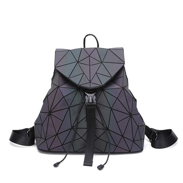 0b4ba86031 Women Laser Luminous Backpack Mini Geometric Shoulder Bag Folding Student School  Bags For Teenage Girl Hologram