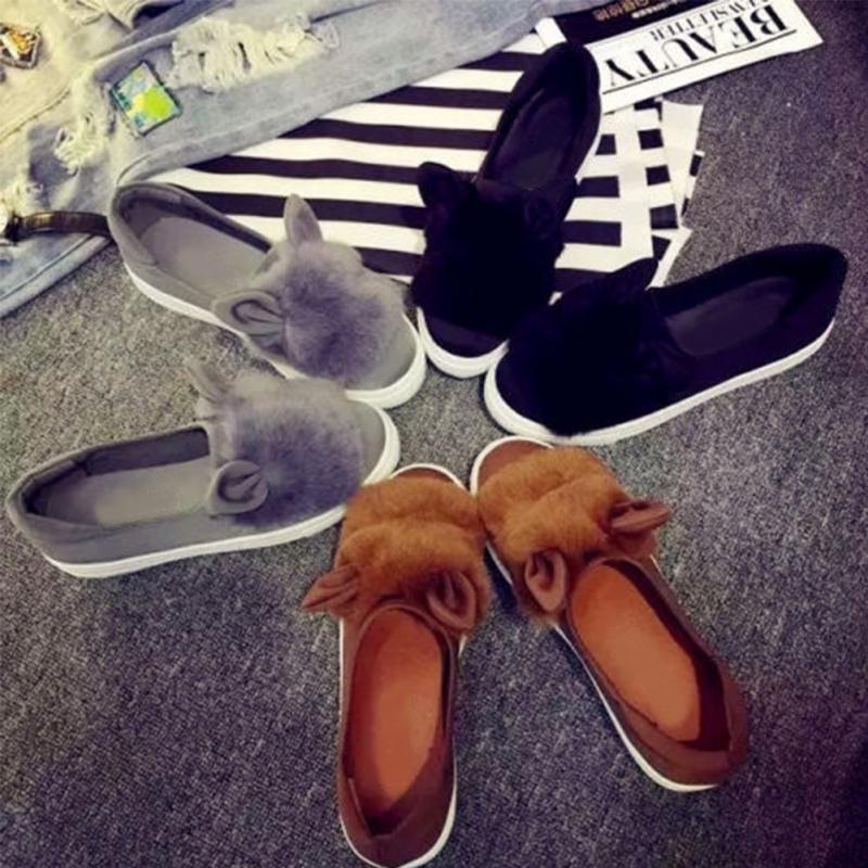 Обувь обувь для женщин 2017 г. зимние теплые милые Искусственный мех слипоны уха Декор Лоферы для женщин mary jane на плоской подошве Обувь Femenino Zapatos Mujer