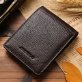 Brand  New Mens Leather Silver Money Holder Slim Wallets Black ID Credit Card Holder, Fashion Design Fit Small Pocket