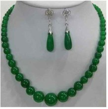 Pretty real nature green jades necklace earring set color Fashion Free shipping