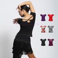 SEXY Milk Silk Latin Dance Costumes Senior Short Sleeves Latin Dance Top For Women Latin Dance