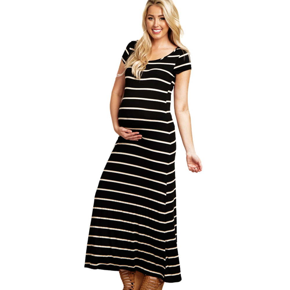 2019 Women S Fashion Maternity Dress Full Sleeve Striped Comfortable ... 17b2a231e9b8