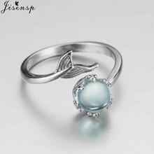 Jisensp nowy regulowany pierścień niebieski kamień kryształ syrenka bańki otwarte pierścienie dla kobiet kreatywny modna biżuteria na prezent Anillos