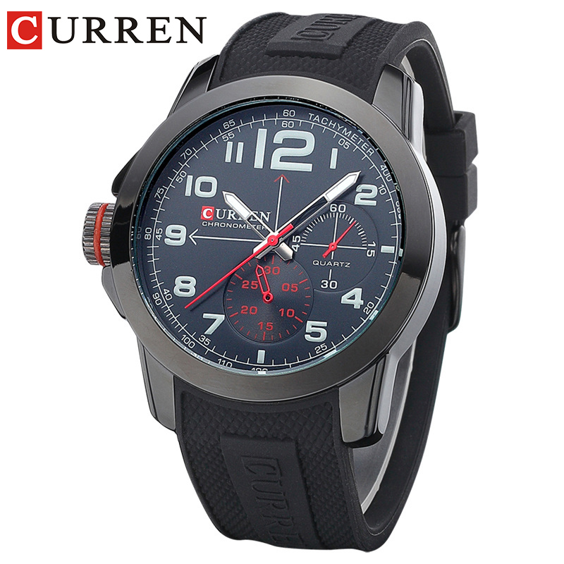 205d9c669f US $13.43 44% OFF|CURREN 8182A Men Sport Military Quartz Watches WoMen's  Large Round Dial Analog WristWatch with Silicone Band Relogio Masculino-in  ...